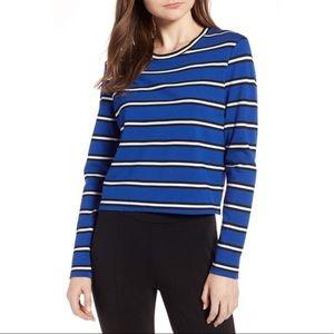 HALOGEN NWT Knit Blue Stripe Long Sleeve Top